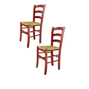 t m c s Tommychairs Set 2 chaises Venezia pour Cuisine, Bar et Salle à Manger, Robuste Structure en Bois de hêtre peindré en Couleur Aniline Rouge et Assise en Paille - Publicité