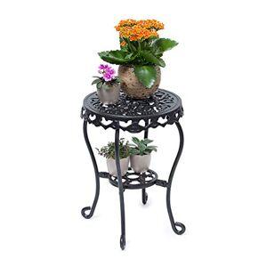 Relaxdays Tabouret plantes fleurs fonte support table appoint ronde table fleurs plantes 41 x 30 x 30 cm, noir - Publicité