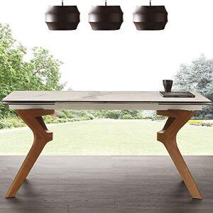 NOUVOMEUBLE Table avec rallonge en céramique et en Bois Logan - Publicité