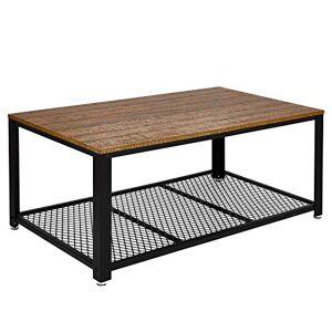 Meerveil Table Basse Industrielle Table de Salon Style Vintage, Industriel, Veinure du Bois et Armature de Métal, pour Salon, Cuisin, Chambre, 106 x 60 x 45 cm (Marron) - Publicité