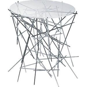 Alessi A di  Blow Up Petite table avec base en acier chromé et plan en verre - Publicité