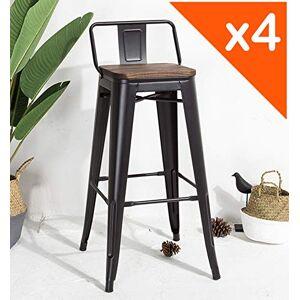 JA STORE FR KOSMI Lot de 4 Tabourets de bar en métal noir mat et assise en bois foncé avec dossier, chaise de bar Tabouret métal et bois haut hauteur 76cm parfait pour table de 100 cm et plus - Publicité