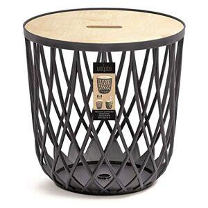 Prosperplast Table basse avec plateau en bois, table en plastique, facile d'entretien, moderne, Uniqubo (anthracite, 35 litres) - Publicité