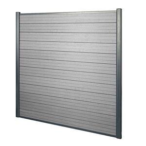 Mendler WPC Pare-Vue Sarthe, Abat-Vent, clture, Aluminium Premium ~ élément de Base, 1,90m, Gris - Publicité