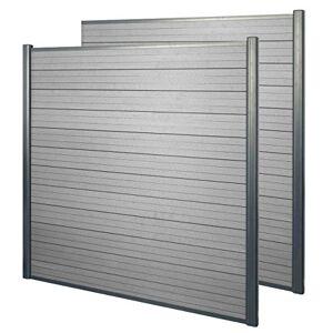Mendler WPC Pare-Vue Sarthe, Abat-Vent, clture, Aluminium Premium ~ Lot de 2, 3,75m, Gris - Publicité