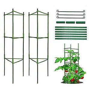 Rumsfel Support de Plantes de Grimpantes, Stable Cage  tomates, Jardin Treillis Grimper légumes & Fleurs et Fruits Grow Cage, Btons de Plantes recouverts de Plastique, avec bielle (Deux Groupes) - Publicité