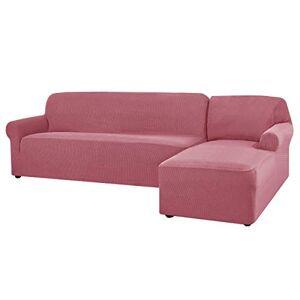 CHUN YI Jacquard Housse de Canapé d'angle Convertible Tissu Polyester Extensible (Droite-3 Places, Vieux Rose) - Publicité