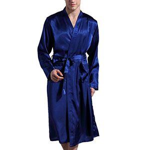 Surenow Homme Pyjama Robe de Chambre Peignoir de Bain Satin XX-Large Bleu - Publicité