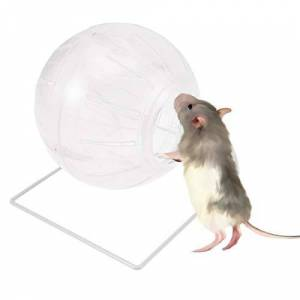 POPETPOP Ballon d'exercice Hamster, Mini-Ballon Polyvalent 4 en 1 de Hamster en Cours d'exécution-Mini-Ballon pour Hamster Nain, Souris, Ballon de Hamster syrien avec Support - Publicité
