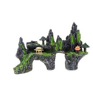 """Guhih Décoration de réservoir de Poissons, décoration Mountain View Aquarium Tree House Bridge décoration de réservoir de Poissons 11.7""""x4.7 x7.9 - Publicité"""