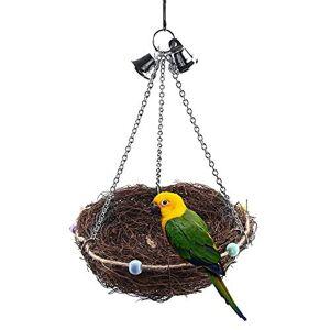 HEEPDD Nid d'oiseau, Corde de Chanvre tissée  la Main en Coton avec des brindilles Naturelles 100% de Fibres Naturelles de Cages en Fibres(27 * 20cm) - Publicité
