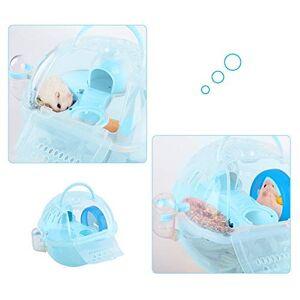 HEEPDD Cage Hamster, Hamster Accessoire Cage de Transport Hamster Portable Mallette de Transport en Plastique Transparent pour L'écureuil Souris Gerbille Syrien(Blue) - Publicité
