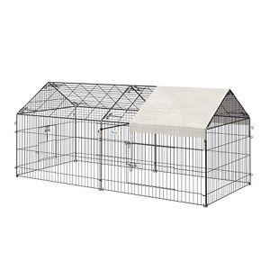 Pawhut Parc enclos Acier Cage extérieure dim. 2,20L x 1,03l x 1,03H cm 3 Portes et Trappe Surface abrité PE Beige - Publicité