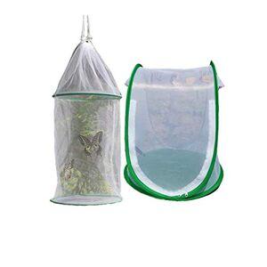 Xumier 2pcs Papillon et Insectes Cage Mesh Plante Habitat Cage Cage Mesh Pliable pour L'habitat des Insectes Terrarium Pop-up Cage de Filet Anti-Insectes Blanc - Publicité