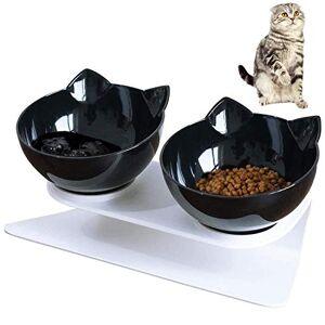 VieVogue Double Gamelle Chat Surélevée Bol de Nourriture pour Chat Chien Gamelle incliné  15  Aliment pour Chat et Petits Chiens (Black+Black Bowls) - Publicité