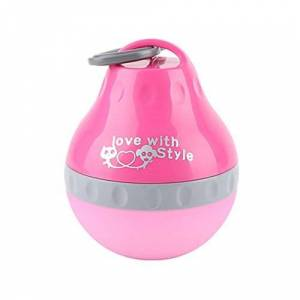 XMDZ Distributeur Eau Chien Chat Voyage Bouteille en Silicone Pliable avec Mousqueton Réservoir d'eau pour Camping Promenade Reutilisable 200ML Rose - Publicité