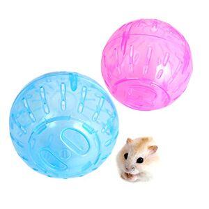 RoadLoo Balle Hamster, 2Pcs12cm Plastique Hamster Fitness Ball Portatif Transparent Hamster Mini Ballon Nouvelle Exercice Sain Sûr Ballon Courant Petits Animaux Jouet Nouer pour Hamster Rat Gerbille - Publicité