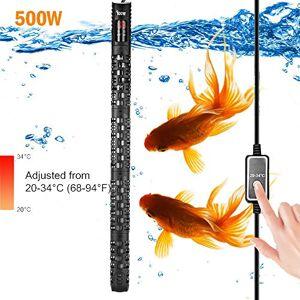 ALLOMN Réchauffeur d'aquarium, Réchauffeur Automatique Thermostat d'aquarium D'aquarium Réchauffeur, 20-34  C Température Réglable avec Ventouse Protection pour Aquarium 50-350L (500W 150-350L) - Publicité