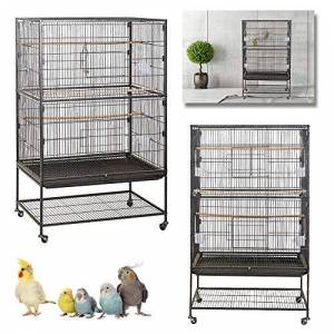 LZQ Cage  oiseaux en métal avec roulettes 79 x 51,8 x 132 cm pour perruches, perroquets, pigeons - Publicité