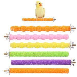 Wudong 6 Pcs Perroquet Perches, Coloré Cage  Oiseaux Gommage Stand Bar pour Oiseau Perroquet Perruches Perruche Calopsitte Conure Inséparable Cage Patte Broyage Jouet - Publicité