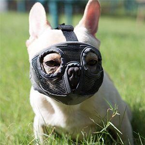 JYHY Court museau Chien Muzzle- Réglable Respirant en Maille Muselire Bulldog pour Piqres d'Chewing aboiements Chien Masque,Gris(Les Yeux) S - Publicité