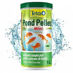 Tetra Pond Pellets Mini  Alimentation Quotidienne idéale pour tous les Petits Poissons de Bassin jusqu 15 cm  Mini Granules Enrichis en Oligo-éléments, Vitamines essentiels, Caroténodes  1 L - Publicité