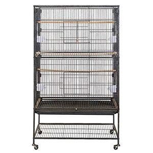 Froadp Cages  Oiseaux Grand Nichoir  Oiseaux avec roulettes et 2 tages Support Cages Volire pour Perroquet(79x51,8x132cm) - Publicité