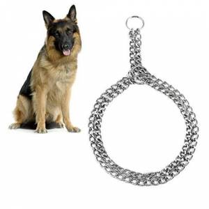 KAYI Collier de dressage de chane en métal plaqué collier couplage collier en fer double collier  Pet - Publicité