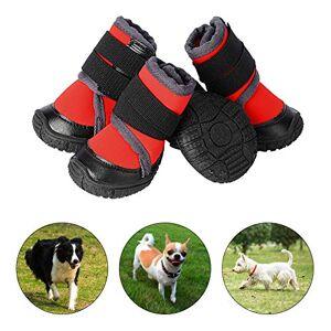 PETLOFT Chaussure pour Chien, 4pcs Antidérapante Bottes Chien avec Sangle de Fixation Réglable Dog Boots pour Petits Moyenne Grand Chiens, Facile  Mettre Protection Coussinet Chien (L, Rouge) - Publicité