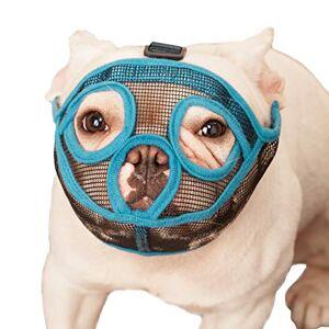 ILEPARK Muselire pour Chiens  museau Court, muselire Bulldog Chien Masque Anti-mordillage, Mastication, Aboiement(L,Bleu) - Publicité