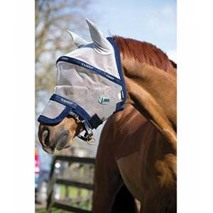 Horseware Bonnet anti mouches anti uv Rambo flymask plus vamoose FULL, marine/gris - Publicité