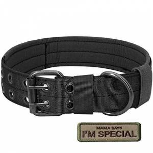 S.Lux Collier militaire tactique pour chien en nylon réglable  avec boucle en D en métal pour dressage des chiens  Collection classique de couleur unie - Publicité