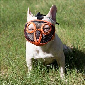 JYHY Court museau Chien Muzzle- Réglable Respirant en Maille Muselire Bulldog pour Piqres d'Chewing aboiements Chien Masque,Orange(Les Yeux) XL - Publicité