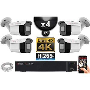 EC VISION Kit Vidéo Surveillance Pro IP 4X Caméras POE Tubes IR 40M Capteur Sony UHD 4K + Enregistreur NVR 8 canaux H265+ UHD 4K 3000 Go - Publicité