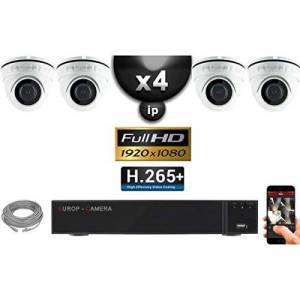 EC-VISION Kit Vidéo Surveillance Pro IP : 4X Caméras POE Dmes IR 20M Capteur Sony 1080P + Enregistreur NVR 9 canaux H265+ 2000 Go - Publicité