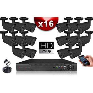 EC VISION Kit Eco Vidéosurveillance AHD : 16 Caméras Tubes CMOS HD 720P + Enregistreur XVR H265+ 2000 Go/Pack de vidéo Surveillance - Publicité