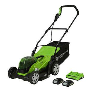 Greenworks Tools Batterie Li-ION 2 x 24 V Largeur de Coupe : 36 cm Jusqu' 250 m avec Sac de ramassage de 40 l avec 2 Batteries 24 V 2 Ah et Chargeur - Publicité