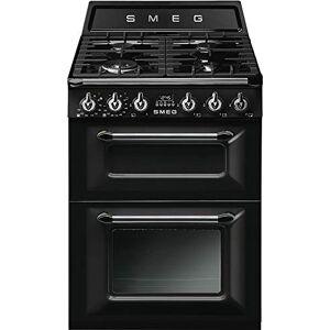 SMEG Cuisiniere gaz  TR62BL Cuisinire 60 cm Noir Table de cuisson Gaz Four Electrique 61 + 36 litres Nettoyage Email easy-to-clean Porte tempérée Classe énergétique A - Publicité