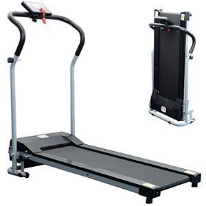 HOMCOM Tapis de Course Fitness électrique Pliable 1  10 Km/h écran LCD Multifonctions Puissance 500 W Gris Clair Noir - Publicité