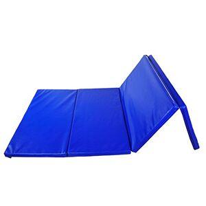 Homcom Tapis de Sol Gymnastique Fitness Pliable Portable Rembourrage Mousse 5 cm Grand Confort Simili Cuir dim. 2,45L m x 1,15l m Bleu - Publicité