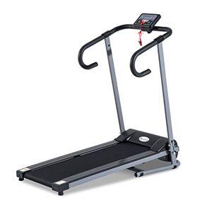 HOMCOM Tapis de Course Fitness électrique Pliable 1  10 Km/h écran LCD Multifonctions Puissance 500 W Gris foncé Noir - Publicité
