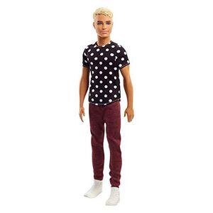 Barbie Fashionistas poupée mannequin Ken #14 blond avec t-shirt noir  pois, pantalon rouge et chaussures blanches, jouet pour enfant, FJF72 - Publicité