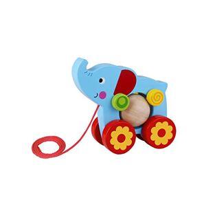 Tooky Toy Jouet  tirer Elephant en bois, TKE006, Multicolore - Publicité
