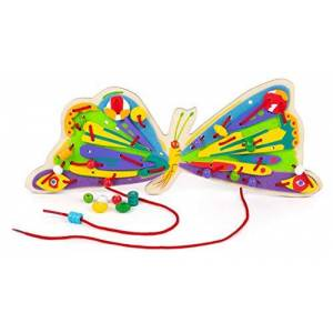 Small Foot -11432 Jeu  Enfiler la Chenille Qui Fait des Trous, en Bois, de la Concentration et de la créativité pour Les Amateurs Jouets, 11432, Multicolore - Publicité