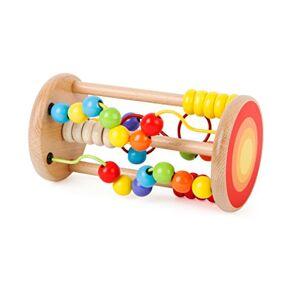Small Foot 10630 Jouet Boules, en Bois, avec Circuits de motricité et Plaquettes coulissantes,  partir de 12 Mois Cylindre évolutif coloré bouliers forment la Coordination mai-il de l'enfant - Publicité