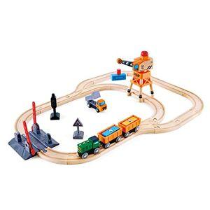 Hape --E3732-Circuit Bois Train Cargo Crossing and Crane Set Circuits de Voitures, E3732, Multicolore - Publicité