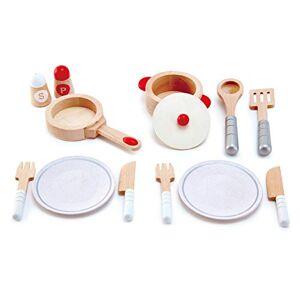 Hape Set de Service Blanc, ensemble avec 13 léments en Bois pour Cuisiner - Publicité