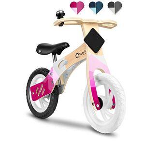 Lionelo Willy Velo Bebe vélo d'équilibre en Bois de 2 Ans jusqu' 25 kg réglage de la Selle lAngle limité de braquage Clochette de Guidon trs léger (Rose) - Publicité