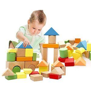 Lewo Grand Blocs en Bois Jeux de Construction Jeux Educatif Jouet de Premier Age pour Bébé Enfant Garcon Filles 3 4 5 Ans 32 Pices - Publicité