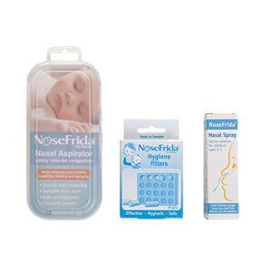 NoseFrida NHS Approuvé Bundle Pack (Comprend 1x  Aspirateur, 1x spray nasal , 1x  Filtre de rechange Pack), - Publicité